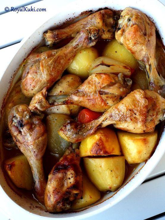 Fırında Patatesli Tavuk incik #طعام