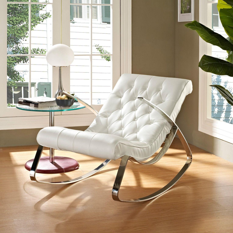 Modway Canoo Lounge Chair Rocker White White Rocking Chairs Modern Rocking Chair Rocking Chair