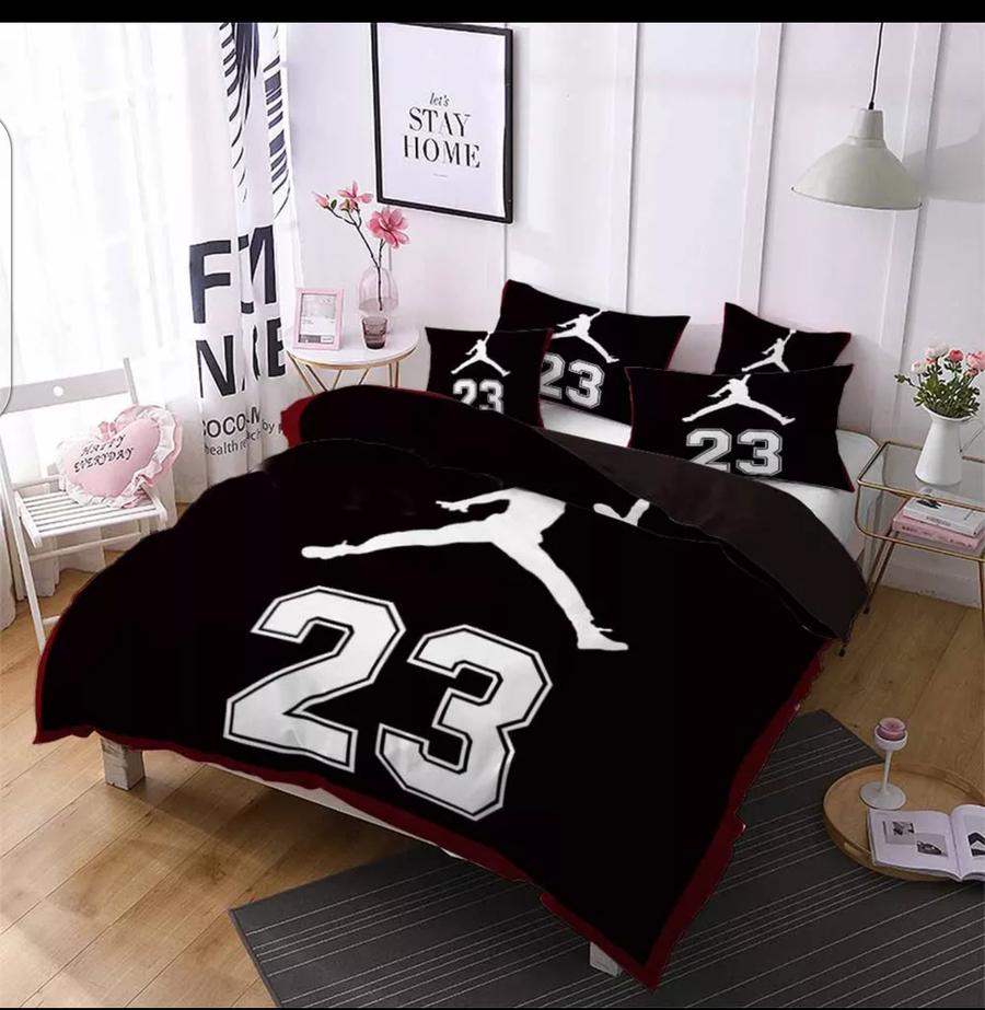 3pcs Jordan Sports Bedding Set Basketball Bed Linen For Teenages Sheet Pillowcase Boys Duvet Cover Sets Si Sports Bedding Boy Room Bedding Bedroom Bedding Sets