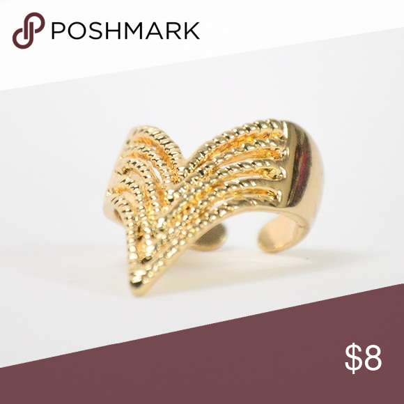 NWT chevron ring Chevron inspired ring. V shape.  Have questions on the size? Ask! I'm happy to provide all measurements! Jewelry Rings
