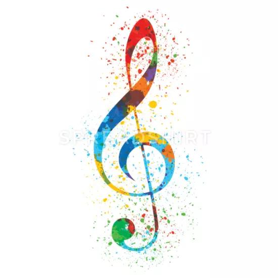 Treble Clef Paint Splatter Art Colorful Vibrant Iphone Case Flexible Spreadshirt In 2020 Splatter Art Paint Splatter Art Music Notes Wall Art