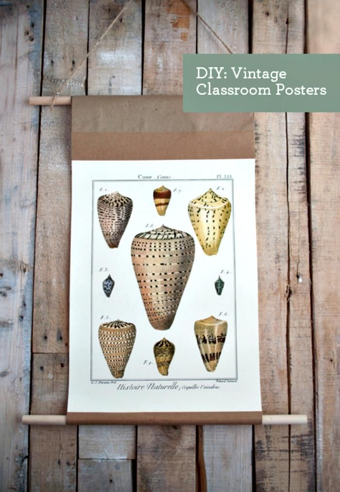 Handcrafted Vintage Classroom Chart Hanger - 35 Best DIY Poster Hangers / Poster Boards or DIY Picture Frames