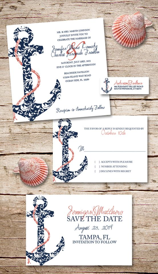 Perfect for any Beach, island themed or tropical destination wedding! Damask ship anchor in stylish coral and navy blue colors. Invitations, RSVP cards, save the date postcards, return address labels, thank you notes and more to go with this nautical cruise wedding invite stationery set. Other colors also available! Really competitively priced.
