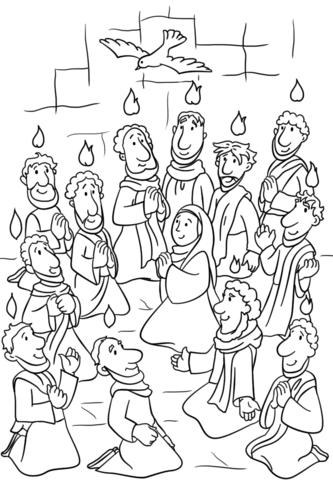 Soshestvie Svyatogo Duha V Den Pyatidesyatnicy Raskraska Biblejskie Podelki Biblejskie Raskraski Uroki Voskresnoj Shkoly