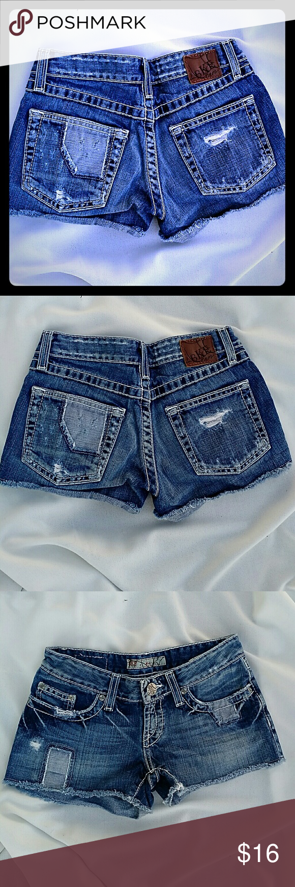 Women's BKE Denim Alli Shorts Buckle Sz 24 Women's BKE Denim Shorts Style: Alli Size 24 Factory-made distressing and stitched patchwork. Medium wash. Excellent condition! From a smoke-free and pet-free home. BKE Shorts Jean Shorts