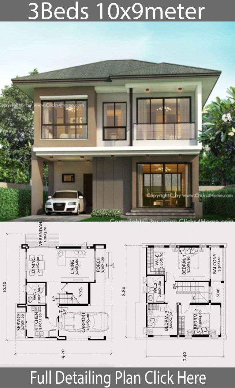 Home Design Plan 10x9m With 3 Bedrooms Home Ideas In 2020 Home Design Plan Modern Style House Plans House Design