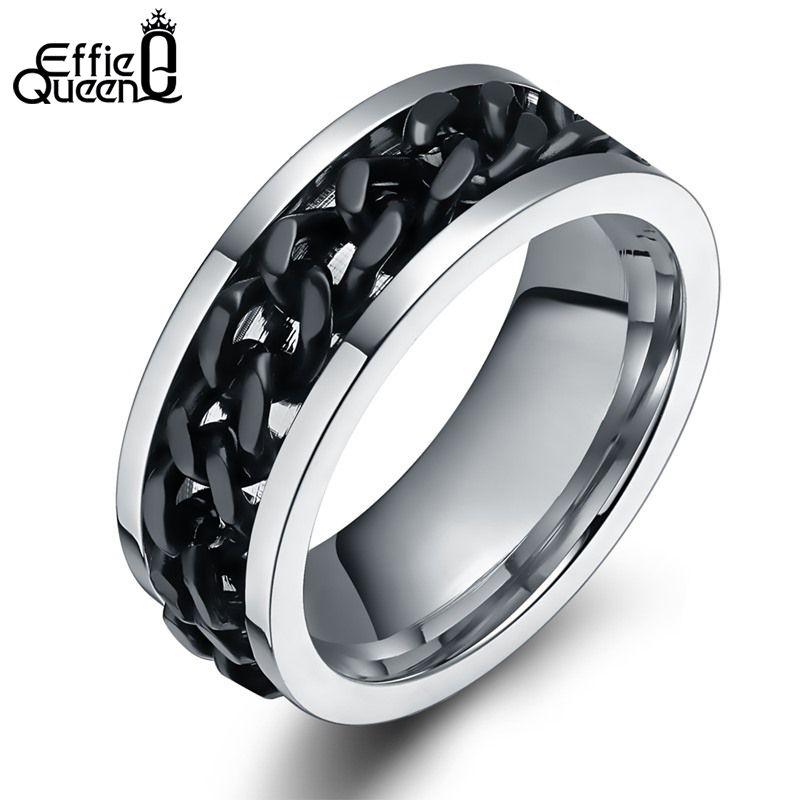 Effie queen neue trendy schmuck titanium stahl männer frauen fingerring mit kette inset urlaub geschenke individuelle stil ringe wtr26