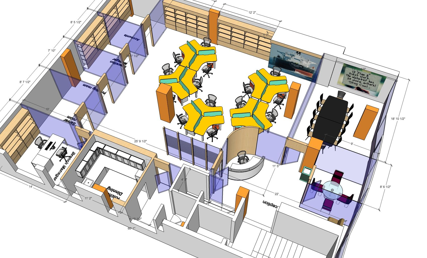 3D Office Floor Plan Bird Eye View