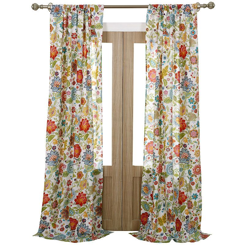 Greenland Home Fashions Astoria Floral 2 Pack Curtain Panels