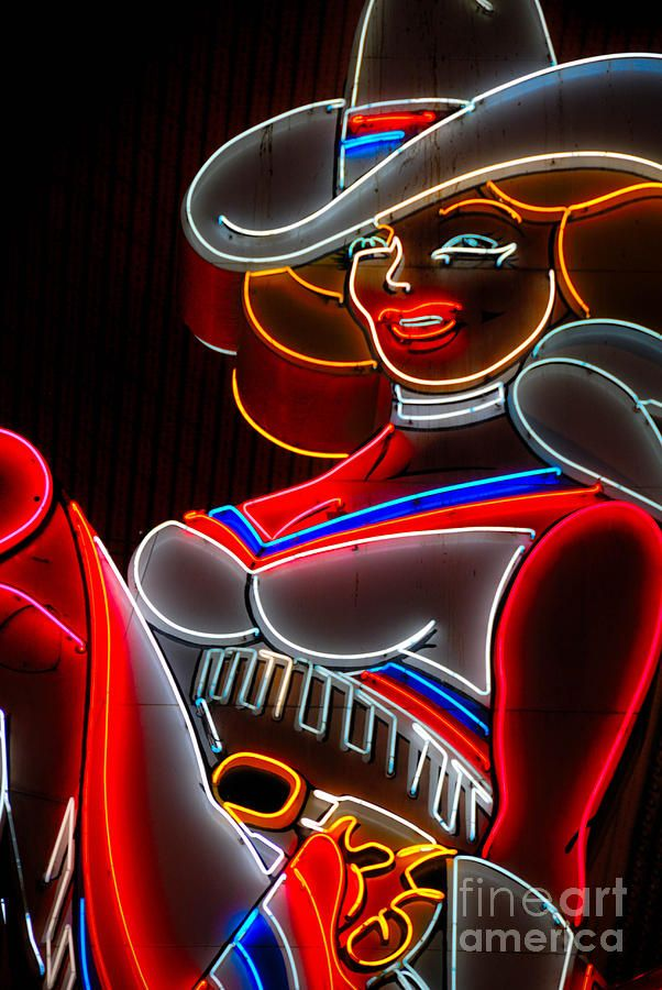 Cowgirl Neon Sign Fremont Street Las Vegas Photograph Cowgirl