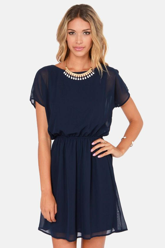 Words of Love Navy Blue Dress at LuLus.com!