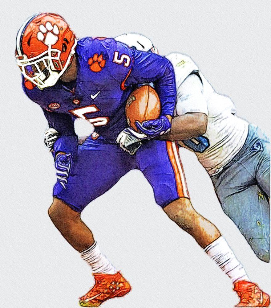 Tee Higgins Clemson Wr College Football Art Football Illustration Football Art