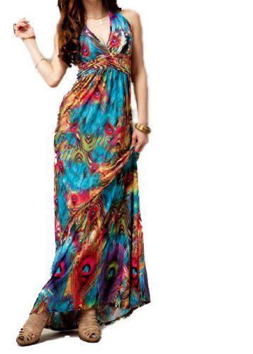 Flaming Peacock Feather Print Empire Waist Maxi Dress TopTie,http://www.amazon.com/dp/B007YBDKZK/ref=cm_sw_r_pi_dp_tvq5sb19VYW28XPC