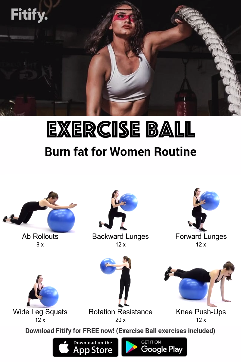 Exercise Ball: Burn fat for Women by Fitify #cardioworkouts