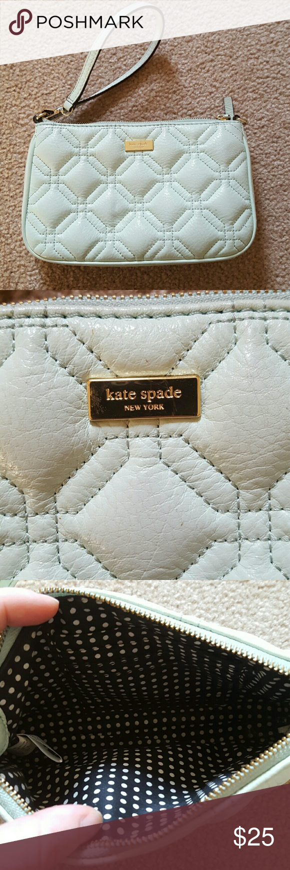 Mint Kate Spade Wristlet Gently Used Condition. Mint in color. Larger size. Fits my galaxy S6 and more. kate spade Bags Clutches & Wristlets