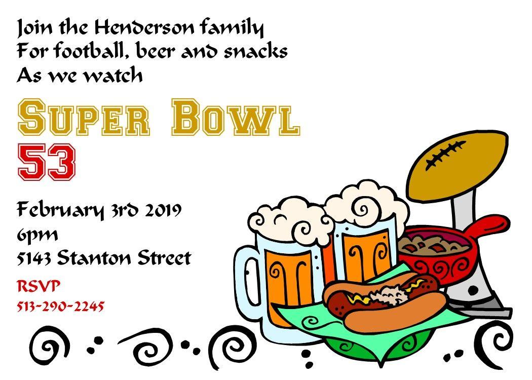 Super Bowl Party Invitations 2021 Super bowl party