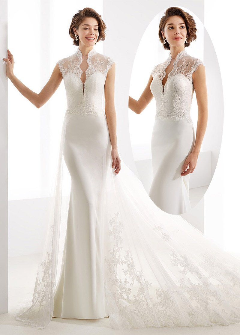 Simple Wedding Dresses, Fashionable Tulle & Lace Illusion