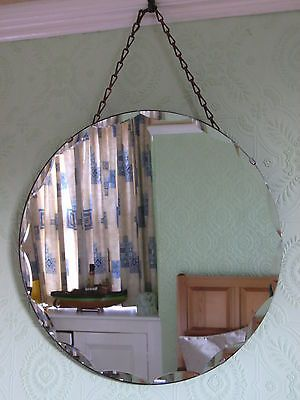 Vintage 1930s Art Deco Frameless Bevelled Scalloped Edge Wall Mirror And Chains Ebay Mirror Mirror Wall Art Deco