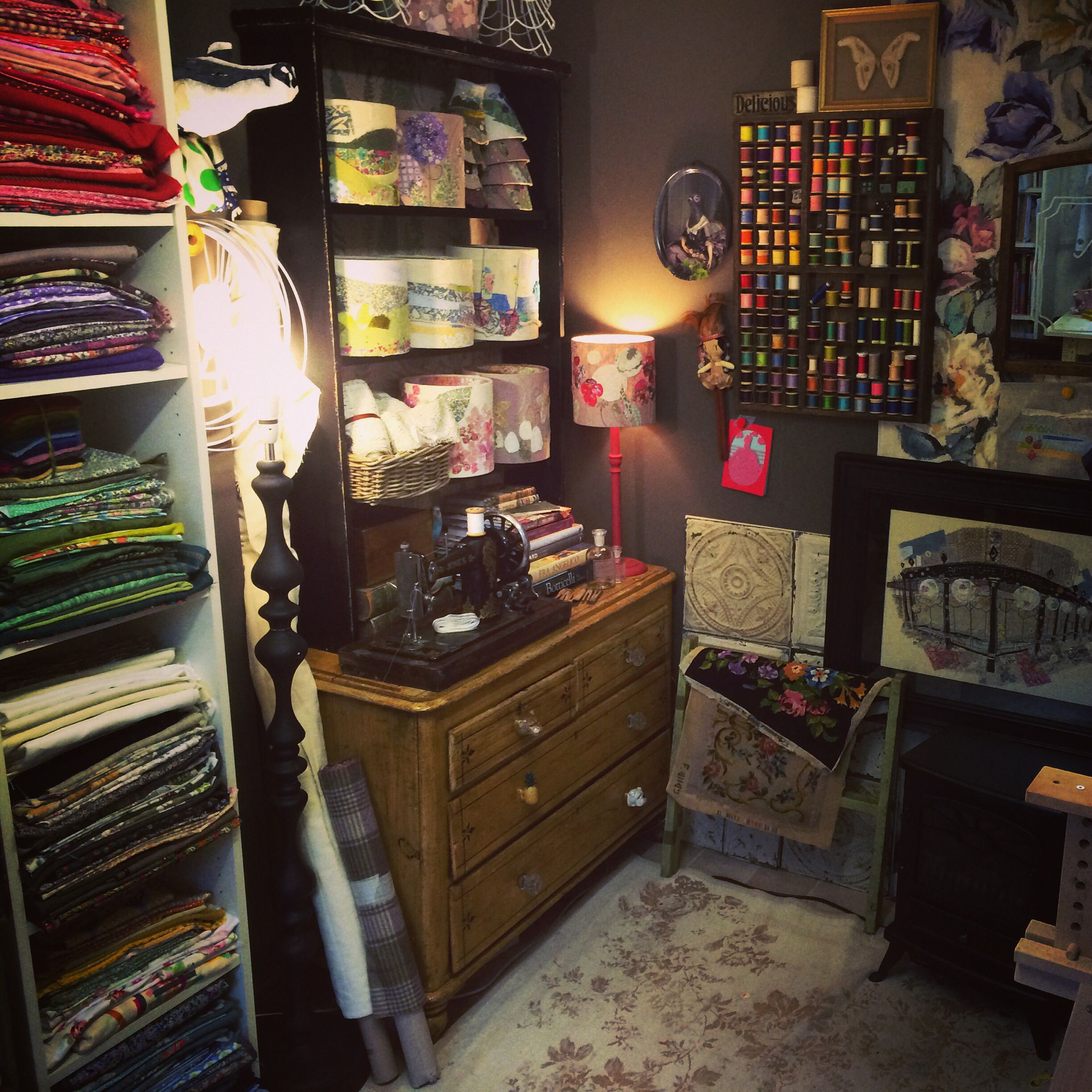 The dark side of my studio. Marna lunt textile artist.
