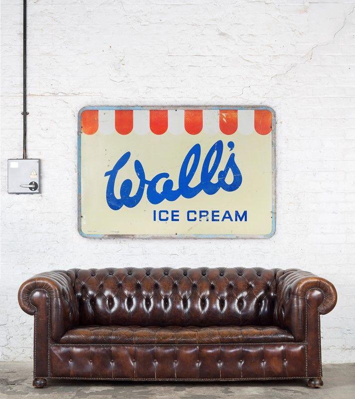 Large Vintage Wall S Ice Cream Tin Sign Ljw Antiques 0666 Wsofa