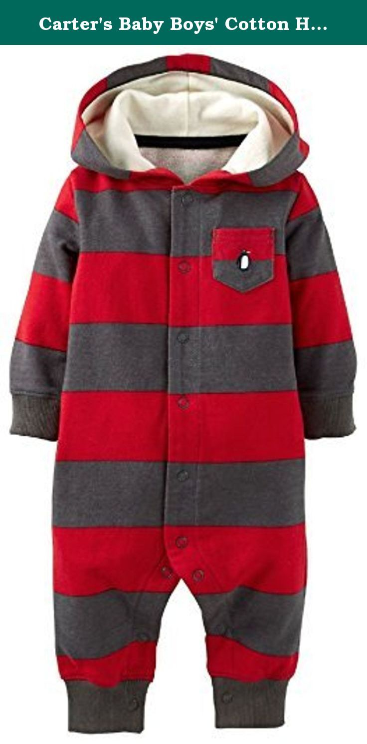 20fd67526 Carter s Baby Boys  Cotton Hooded Snap-Up Coverall Jumpsuit (18 Mon ...