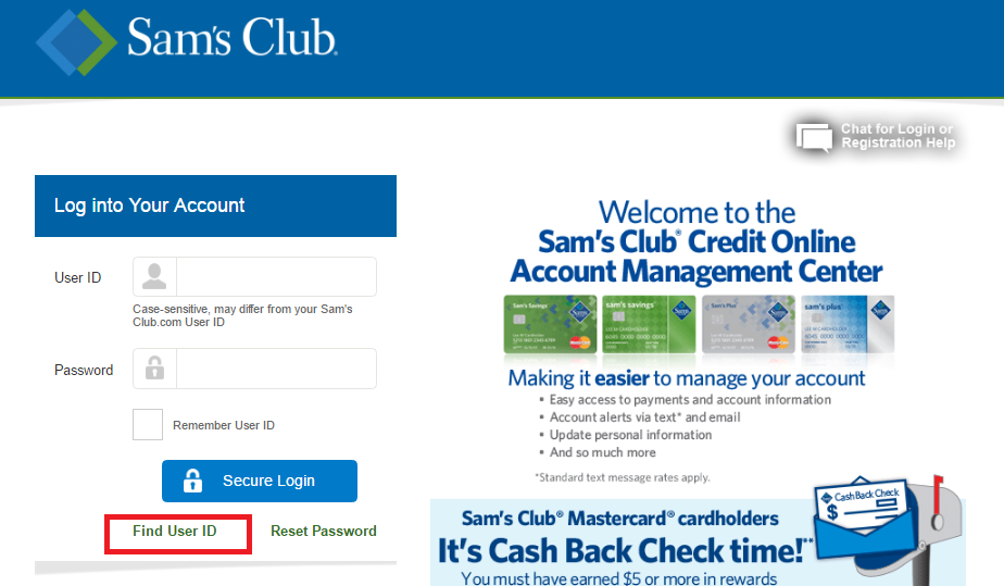 Sam's Club Credit Cardholders can access their account