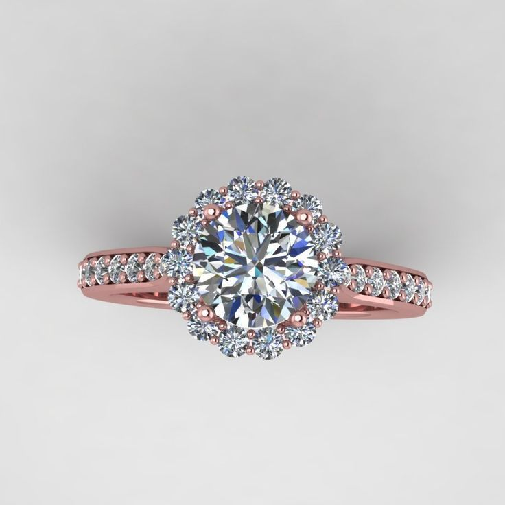 rose diamond wedding rose diamond wedding rings rose gold diamond engagement ring with moissanite center - Wedding Rings Rose Gold