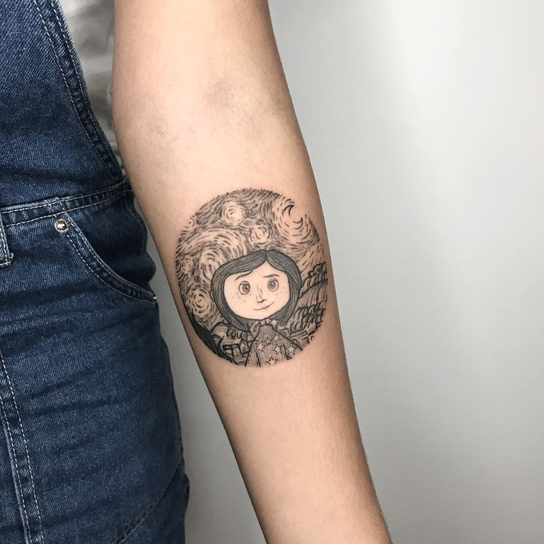 D Rither Jr On Instagram Coraline And The Starry Night Tribute To Amanda S Niece Thank You In 2020 Coraline Tattoo Hand Tattoos For Women Tattoos