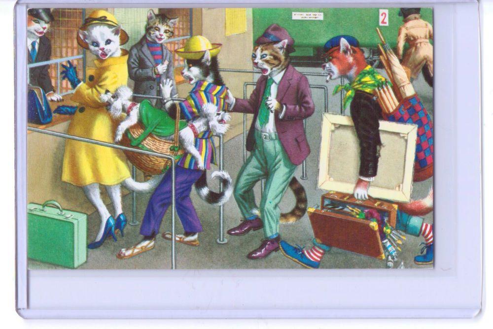 Alfred Mainzer anthropomorphic vestida Gatos na estação de ônibus Cartão Postal # 4735 Turquia in Colecionáveis, Cartões postais, Animais   eBay