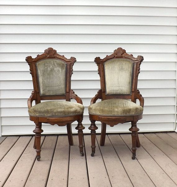 Pair Eastlake Victorian Carved Walnut Parlor Or Side Chairs Green Velvet  Upholstery, Antique Parlor Chairs   Rococo   Pinterest   Parlour, Victorian  And ...