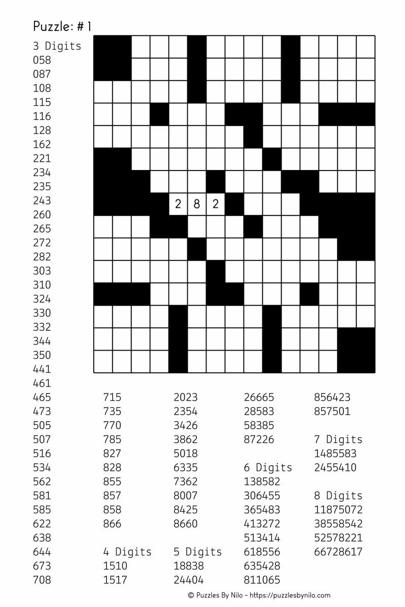 Free Downloadable Number Fill In Puzzle 001 Get Yours Now
