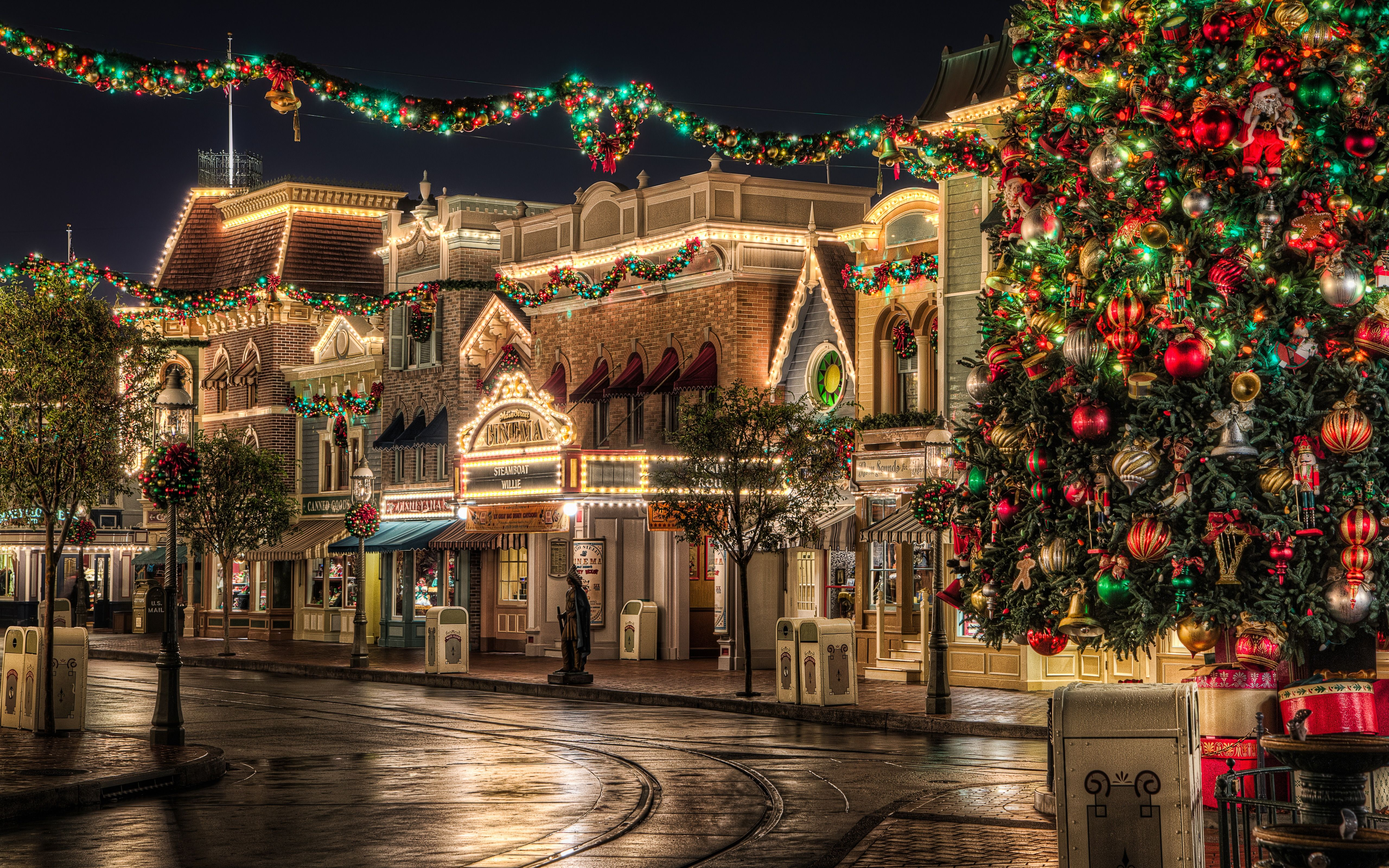 Christmas Lights Hd Wallpaper Disneyland Main Street Wallpaper Phone 4T4