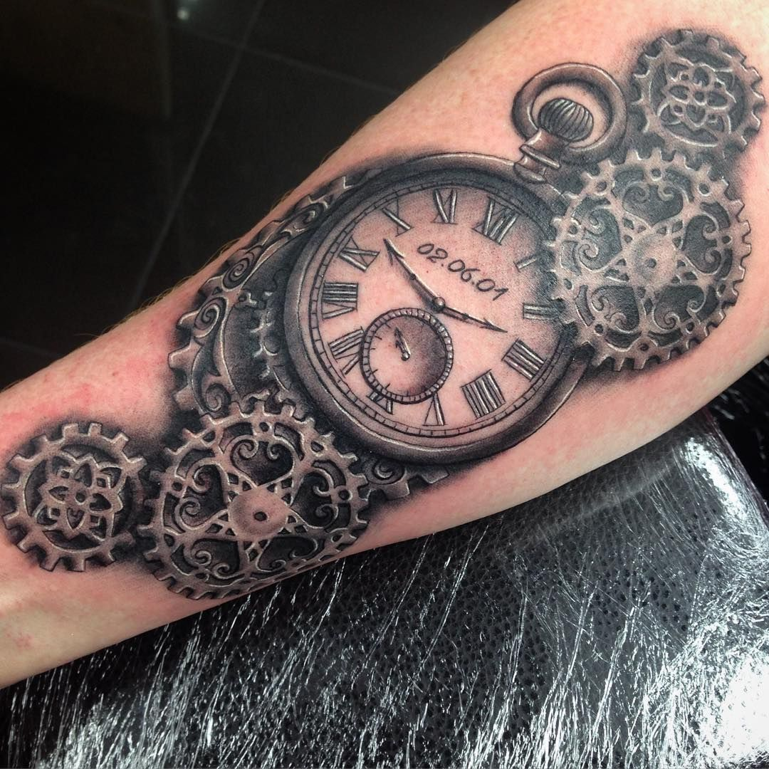 Pocket watch steampunk tattoo design more tatouages - Montre a gousset tattoo ...