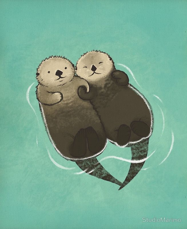 Significant Otters Otters Holding Hands Poster By Studiomarimo