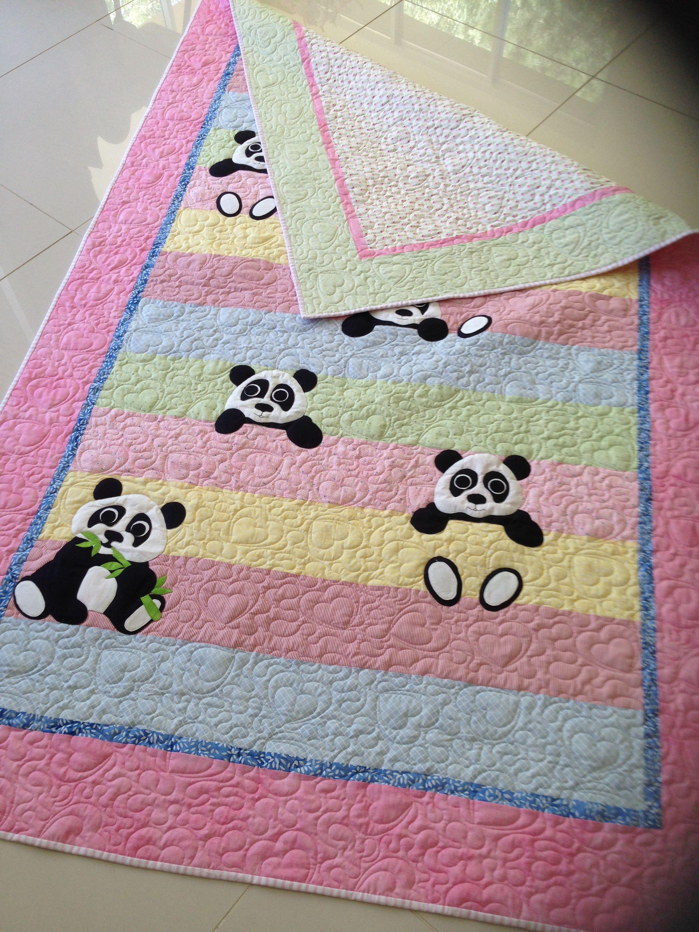 The Back Of Panda Quilt For Grace Panda Quilt Boys