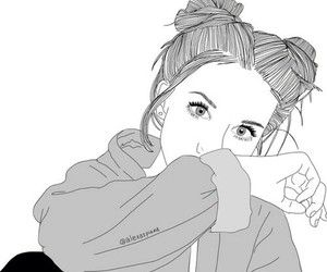 Tumblr Line Drawing Hipster Girl