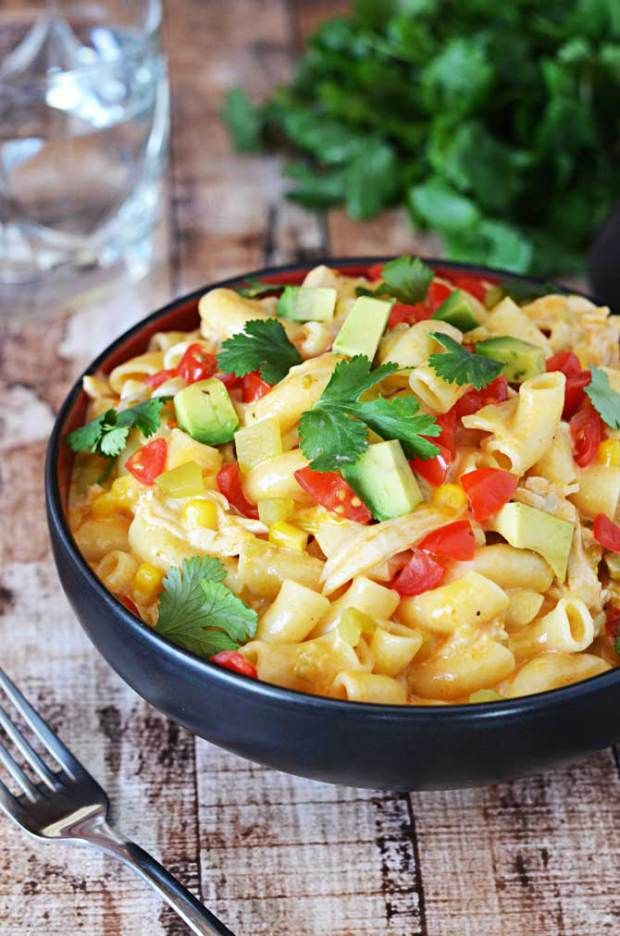 Chicken Enchilada Mac N' Cheese.  Macaroni and cheese, with a south-of-the-border twist