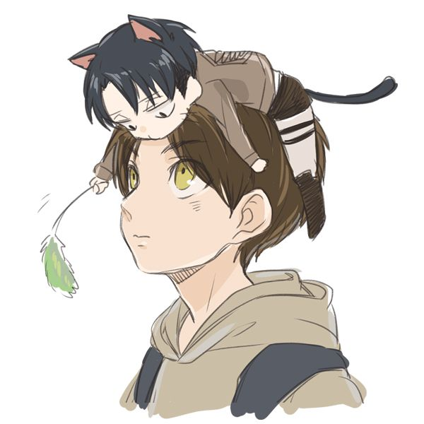 Play With Me Eren... Little Neko Levi~~~ So Cute >