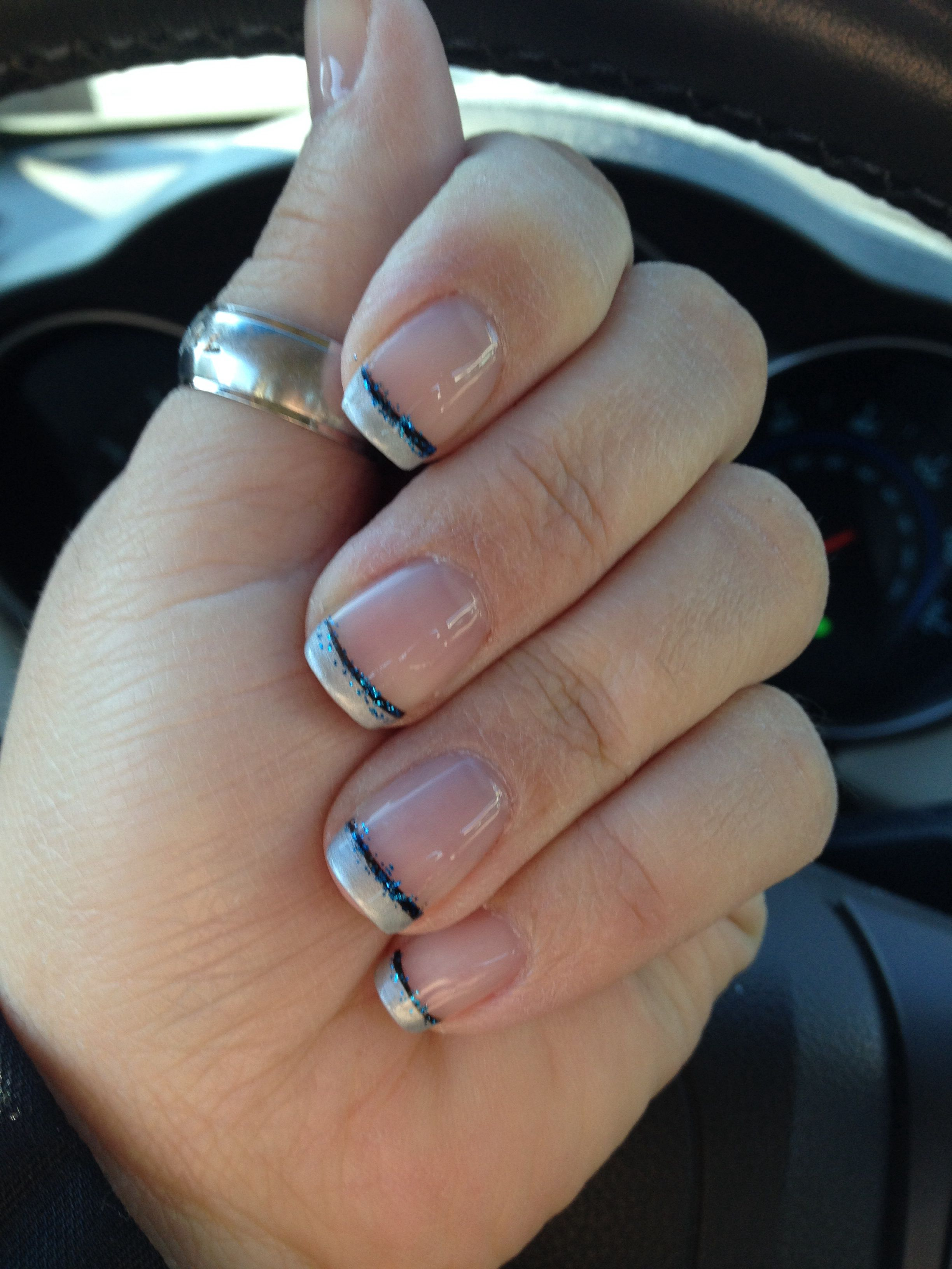 Silver French tip with black accent line and blue glitter