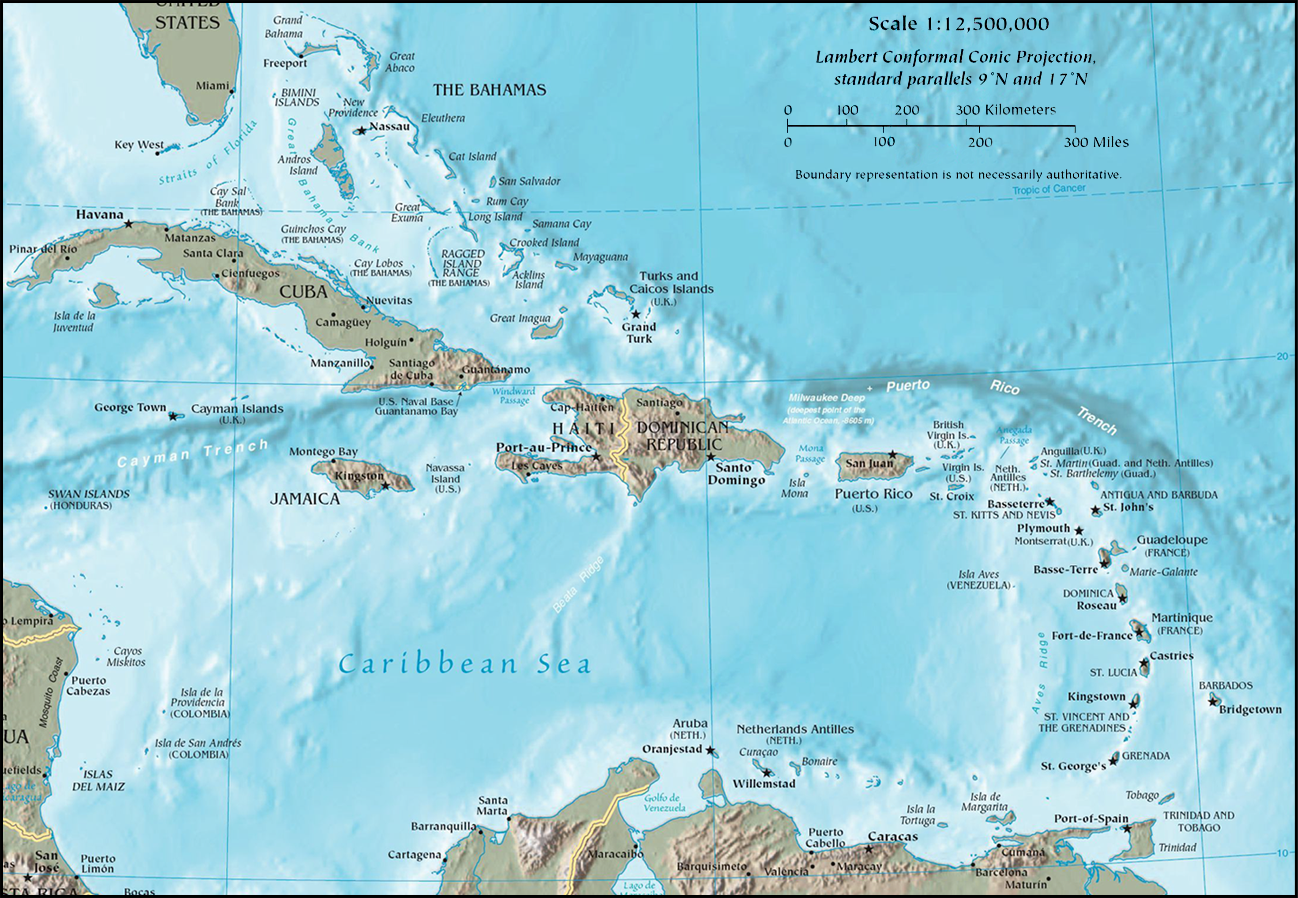 CIA Map of The Caribbean a crescent shaped group of islands east