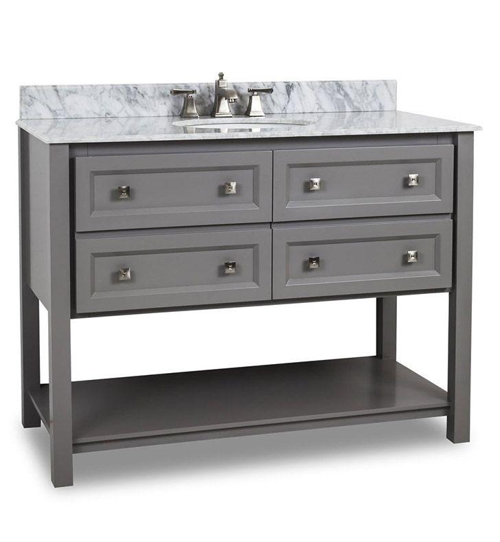 Ansen 48 Inch Bathroom Vanity Grey Finish Carrera White Top Grey