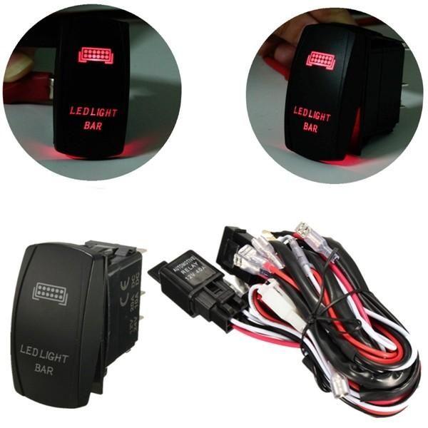 12V LED Light Bar Laser Rocker On/Off Switch Wiring