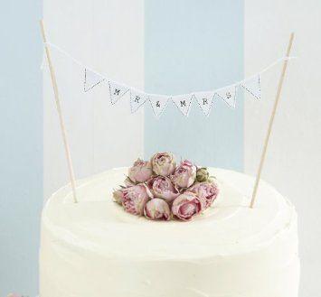 Ginger Ray Vintage Mr & Mrs Cake Bunting - Wedding Cake Topper Decoration - Vintage Lace: Amazon.co.uk: Kitchen & Home