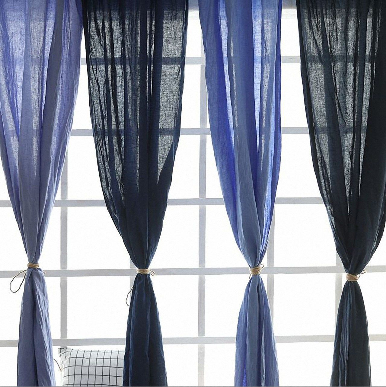 Pair Of Pure Linen Curtain Over 100 Colors Living Room Bedroom