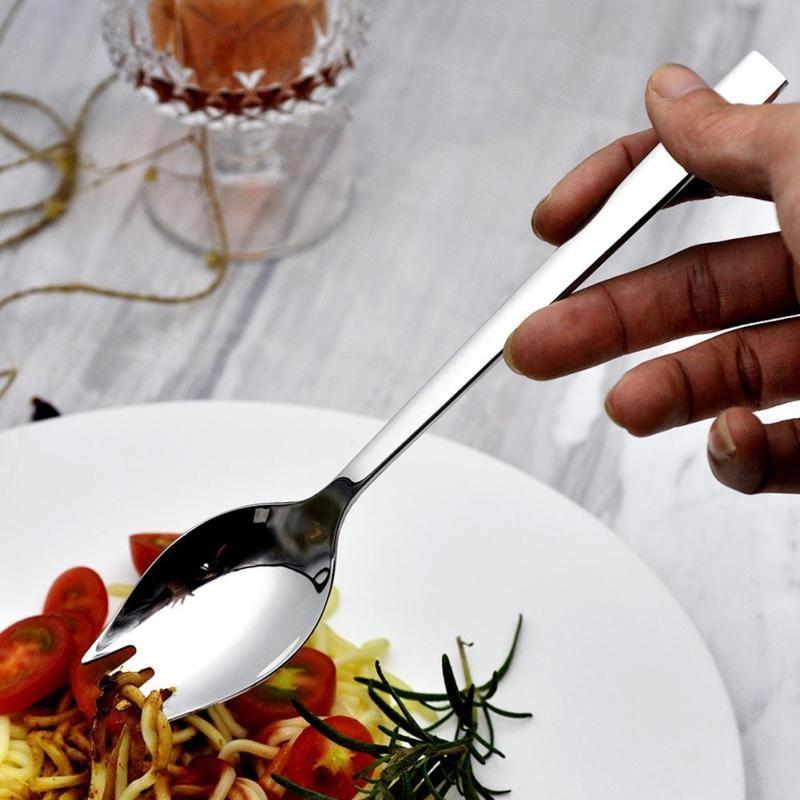 Safe Metal Sporks Soup Salad Dessert Spoon Fork Cutlery Tableware Dining Tool