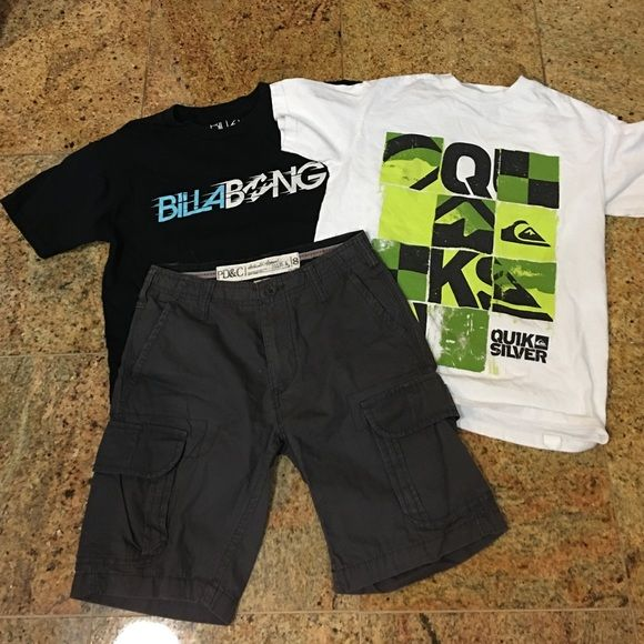 Quiksilver & Billabong T shirts w/grey Shorts LOT of 3 Boys Items Excellent condition! Size Small - 2 Tshirts White/Lime green Quiksilver shirt & Black Billabong shirt and 1 Size 8 Grey shorts PD&C Quiksilver/Billabong Other