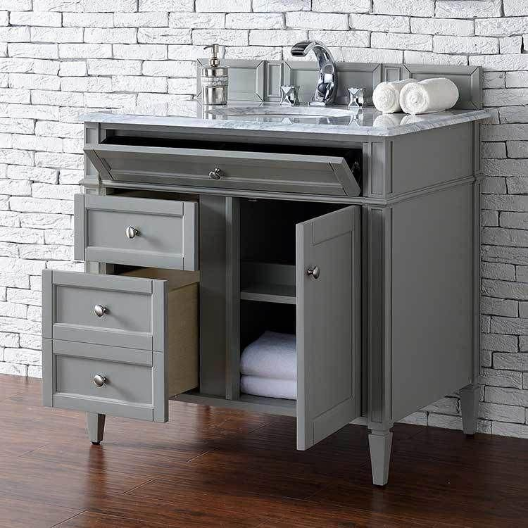 Brittany 36 Urban Gray Single Vanity Cabinet Without Top With