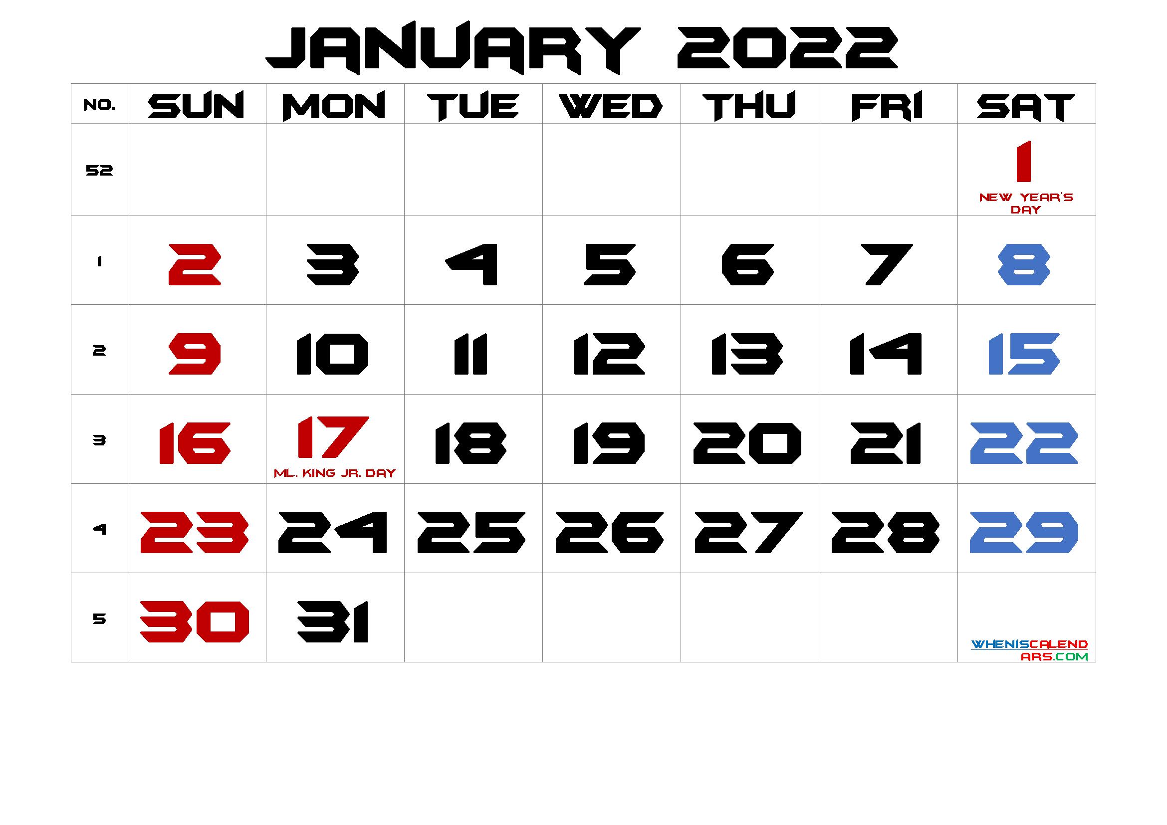 Printable October 2022 Calendar Word.Free Printable January 2022 Calendar Pdf And Png Calendar Printables Calendar With Week Numbers 2021 Calendar