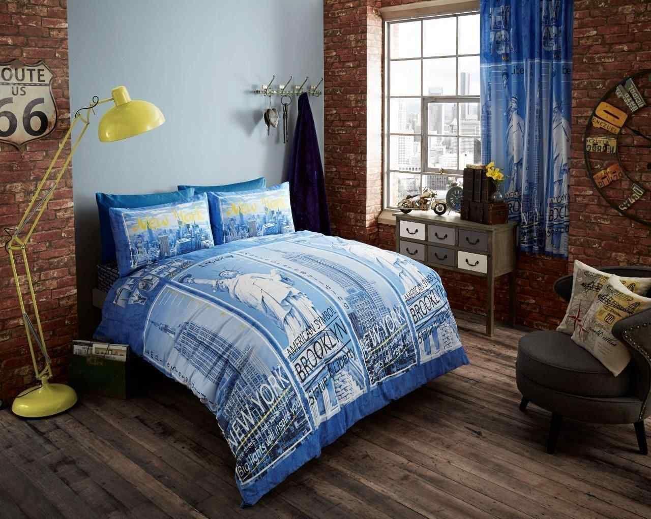 Inspire Printed Duvet Quilt Cover Bedding Set Blue Bedding Sets