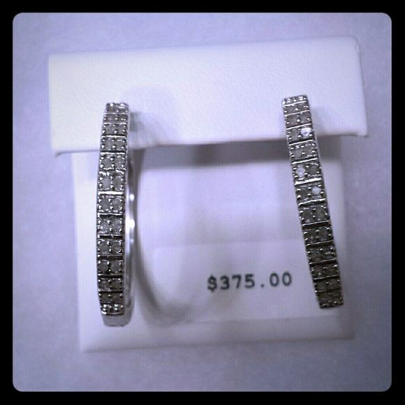 Diamond Earrings 50ctw Real Hoop Sterling Silver Worn Once For A Special Event Kohls Jewelry